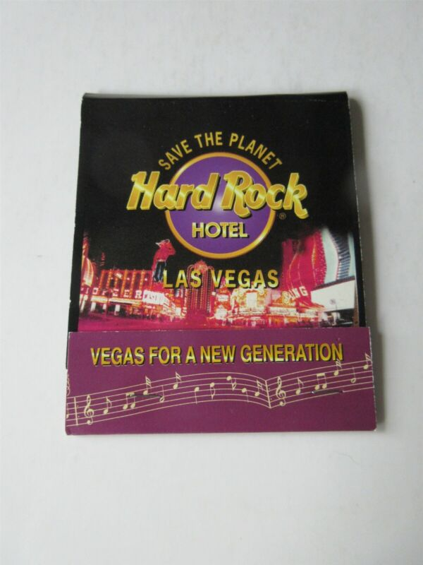 "HARD ROCK HOTEL & CASINO LAS VEGAS VINTAGE LARGE MATCH BOOK 3 3/8"" x 4 1/8"
