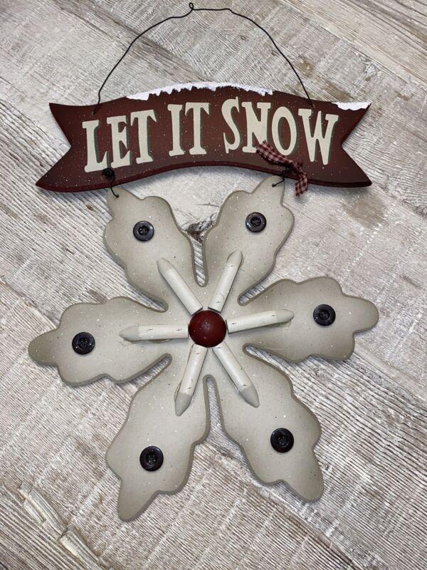 Let It Snow Snowflake Sign Wood Hanger Winter Door Wall Primitive