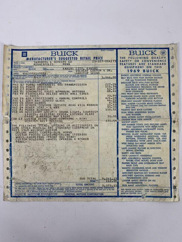 Vintage 1969 Buick Wildcat Custom 4 Door Hardtop Window Sticker MSRP Sheet