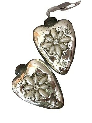 Mercury Glass Heart Ornaments 2 Silver- Glass ~ Jeweled Chic - Holiday Christmas