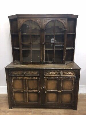 Vintage tibbenham of ipswich oak  2 Piece  Display Cabinet