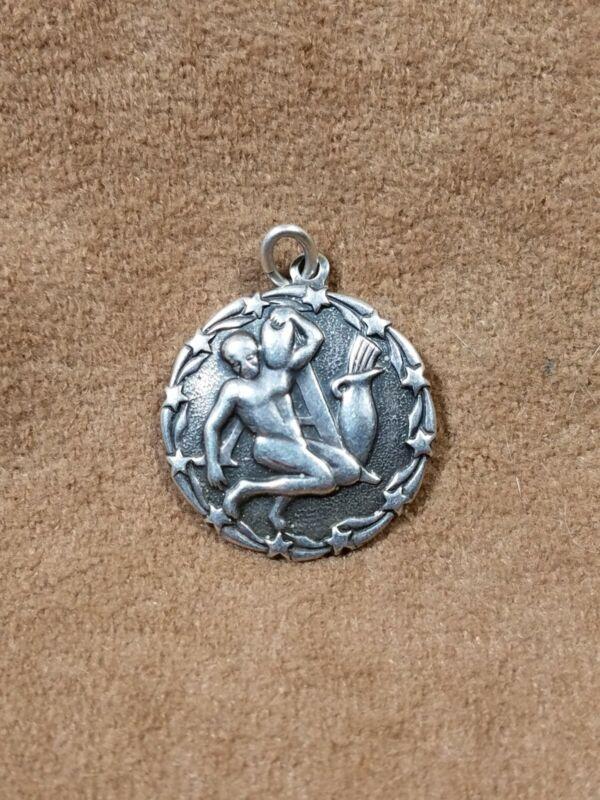 Vintage Sterling Silver Charm Pendant Aquarius Zodiac by Otto R. Bade
