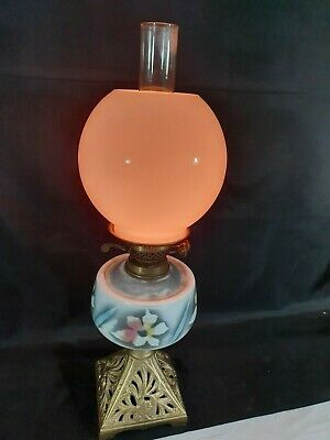 "Vintage 22"" High Cast Iron Based Patterned China Oil Bowl Brass Oil Lamp"
