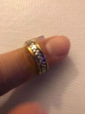 New basket weave band Lady's Ring silver with gold triple plated size 6