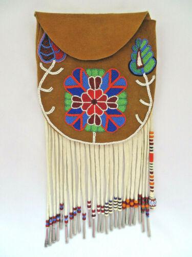 Vintage Beaded Doe Skin Bag Pouch by Native American George Longfish