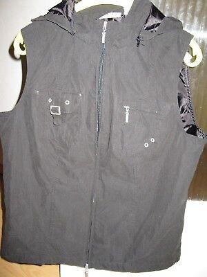 Bär Kapuze (Casual Wear Damen Weste Jacke mit Kapuze (abnehmbar) schwarz in 44)