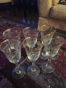 Crystals Glass 6 gold plated & tray / belle verres