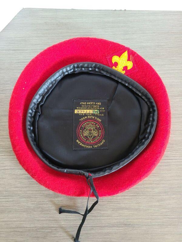 VTG Official Headwear BSA Boy Scouts Of America Red 100% Wool Beret Hat