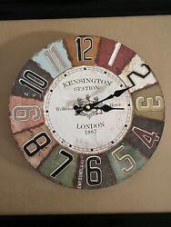Vintage Wood Display Kensington Station London Wall Clock