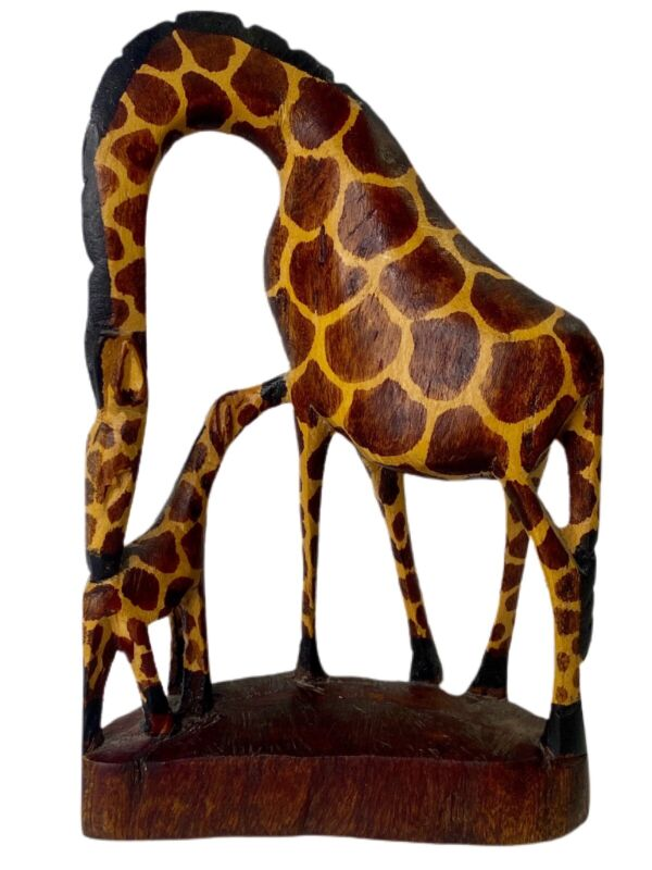Mother & Baby Giraffe Hand Carved Painted Wood Statue Figurine Wooden Calf