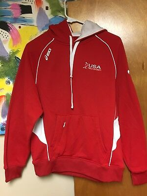 USA Field Hockey Pullover Hoodie Hooded Sweatshirt Small Red White Polyester EUC