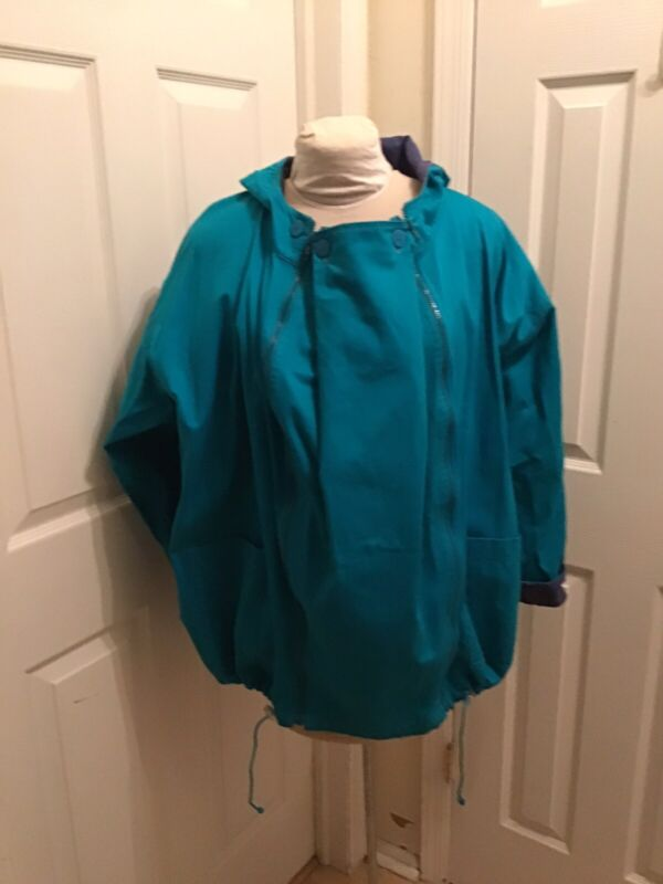Maternity MamaCoat Convertable Jacket Turquoise Cotton Twill Size M Pre-owned