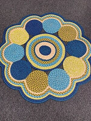 """Blue/Gold Green Floral 100% Round Braided Area Rug 46.5"""" Green Gold Area Rug"""