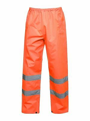 WATERPROOF OVERTROUSERS HI VIS HIGH VISIBILITY TROUSERS ORANGE ST 1 PAIR LARGE