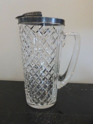 "EARLY HAWKES 8 3/4"" STERLING AND DIAMOND CUT GLASS PITCHER"