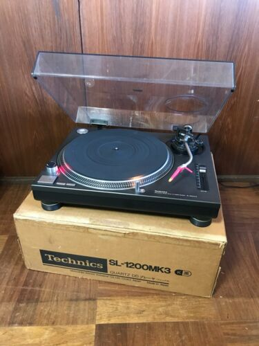 Technics SL-1200MK3 Black color Analog DJ Turntable w/ box, ortolan cartridge
