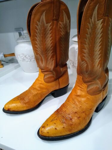 Tony, Lama, Smooth, Full, Quill, Ostrich, Exotic, Cowboy, Western, Boots, Mens, Size, 9.5, D,