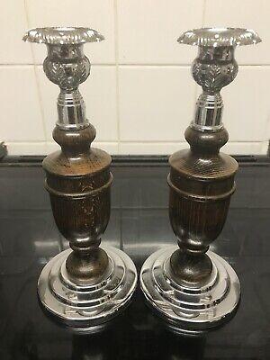 Vintage Wood And Chrome Candlesticks