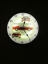 LED Lighted Ford 1969 Mustang Mach 1 Wall Clock