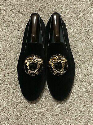 $695 Versace Medusa Velvet Black Gold Loafers Slippers Men Euro 42.5 US 9.5
