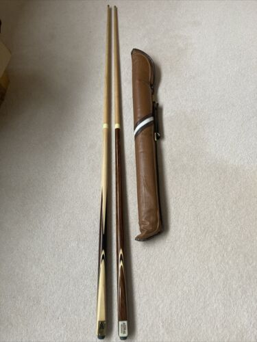 VINTAGE 2 X TWO PIECE ASTRAL BROWN and SPORT BLACK SNOOKER CUES WITH SOFT CASE