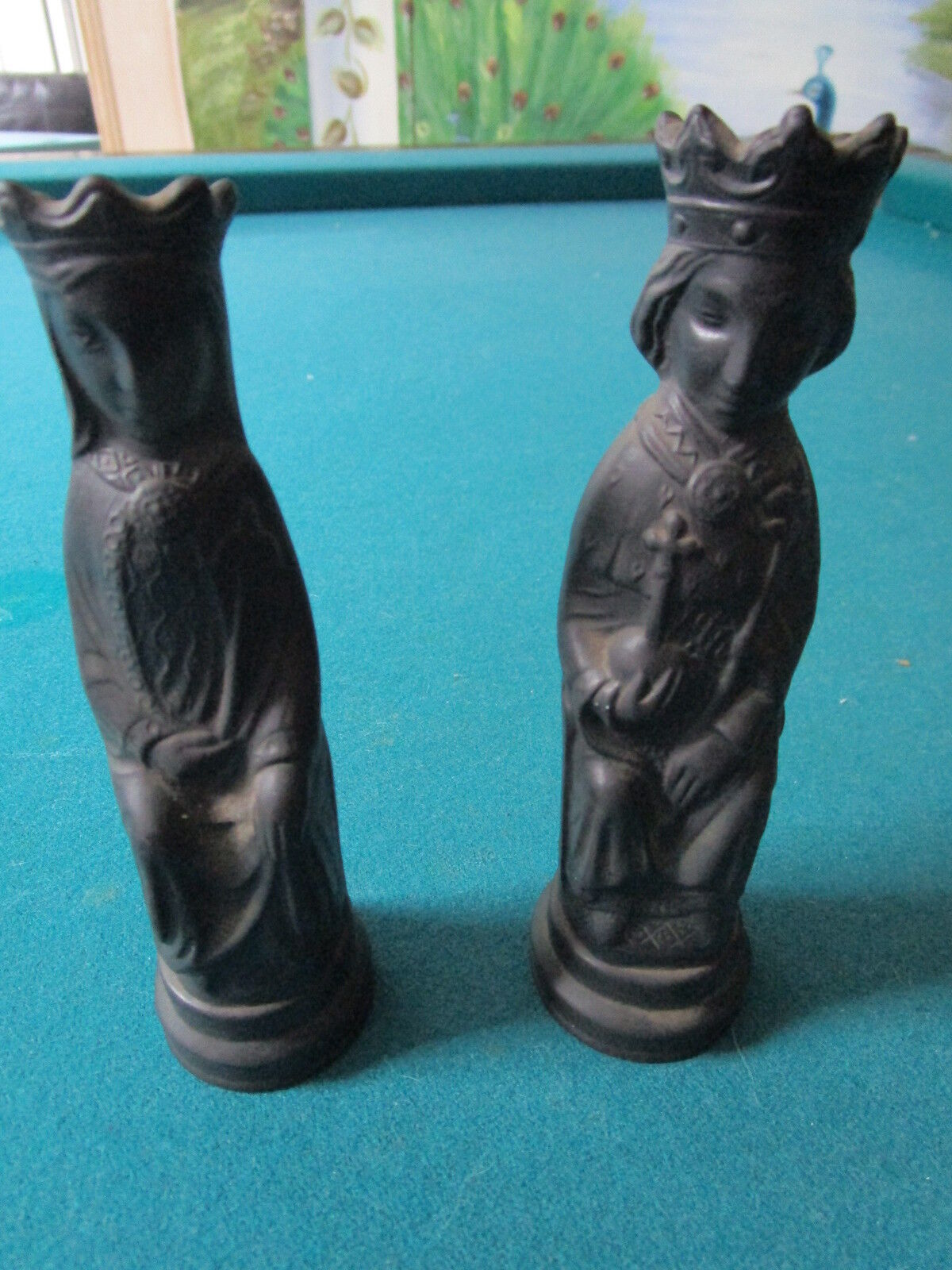 Wedgwood Two Basalt Chess Pieces In The Shape Of A King And A Queen Rare A6 Ebay