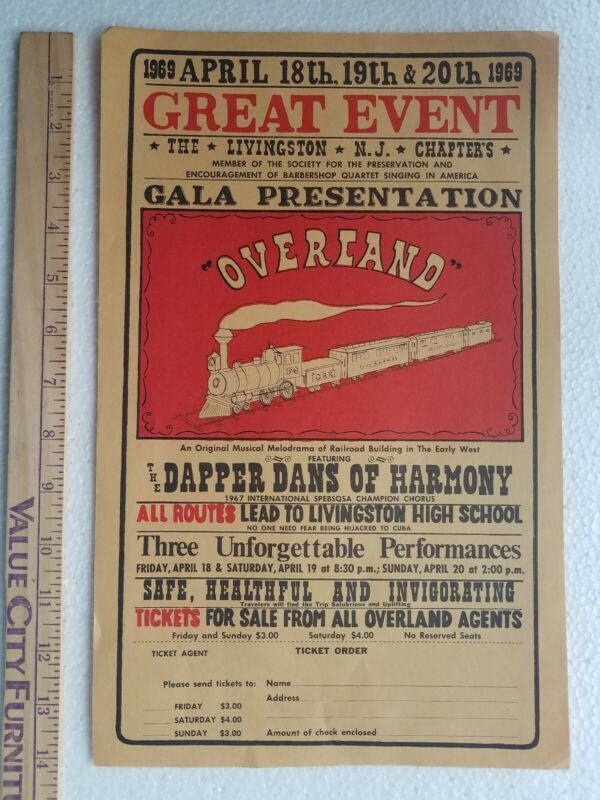 1969 Livingston High School New Jersey NJ Railroad Musical Play Poster OVERLAND