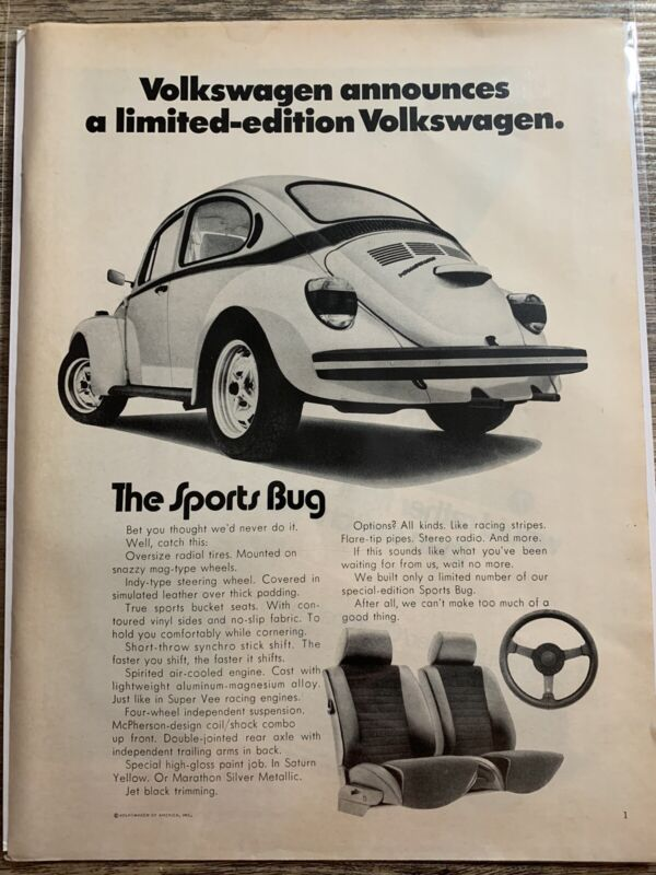 1973 Vintage Print Ad — Volkswagen~The Sports Bug - Limited Edition VW