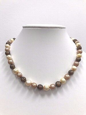 HONORA Genuine Cultured Freshwater 9-10mm Dyed Multi-Brown Ringed Pearl Necklace ()