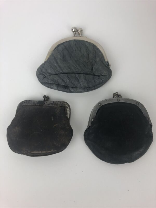 Lot of 3 Antique Vintage Coin Change Purse 2 Single & 1 Double Pouch See Pics