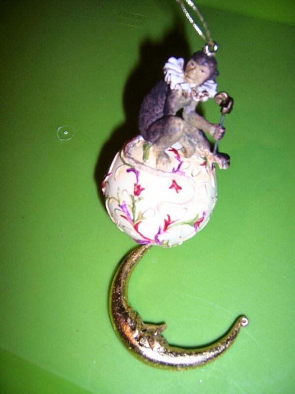 VINTAGE Monkey Jester /Gold moon Unusual Ornament