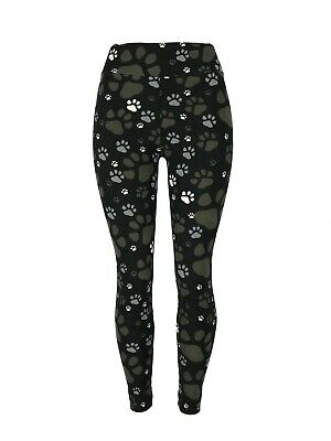 Dog Puppy Paw Prints! Tall & Curvy Black Backgrnd TC Leggings Buttery Soft