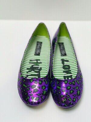 Iron Fist Love hurts purple Leopard Spots Flat Shoes Uk6
