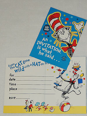 NEW CAT IN THE HAT 8-INVITATIONS  W/ENVELOPES PARTY SUPPLIES (Cat In The Hat Invitations)