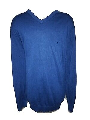 Nautica 4XLT Big & Tall Blue Ribbed Men's V-Neck Viscose Blend Sweater Shirt