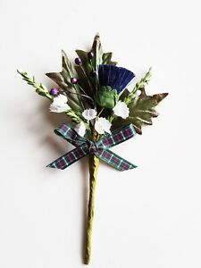 SCOTTISH PURPLE THISTLE WITH WHITE HEATHER & TARTAN RIBBON - BUTTONHOLES WEDDING