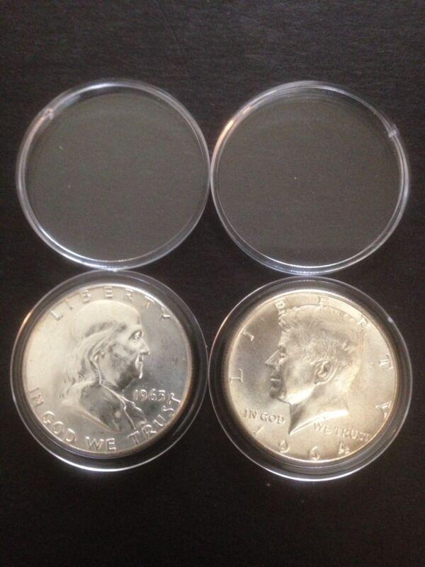 BU1963p & BU1964p Franklin & Kennedy Silver Half Dollars In New Capsules