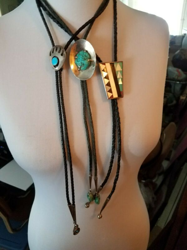 3 lot Native American,Navajo Vintage Sterling Silver Turquoise  Mixed Stone Bolo