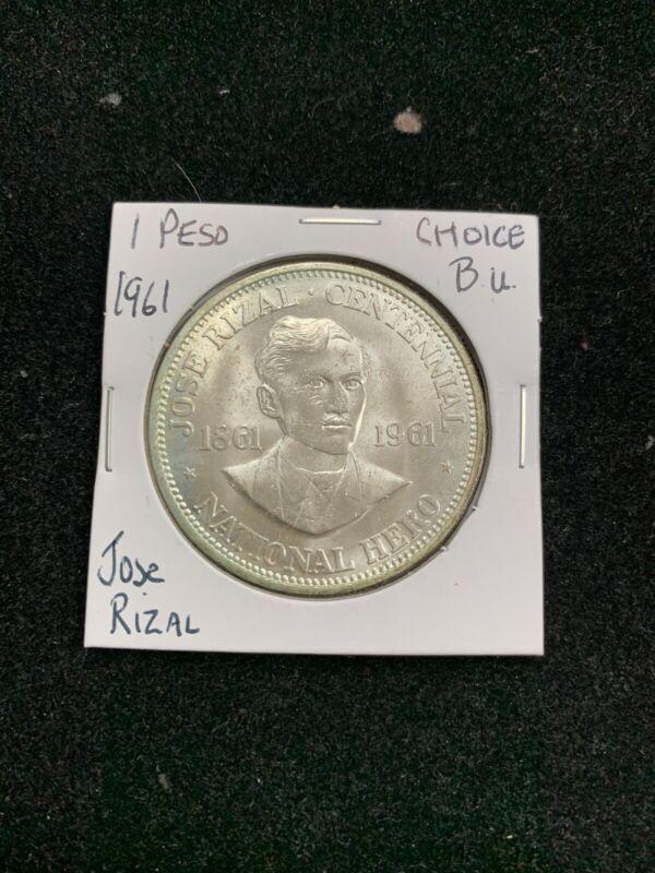 Philippines Peso 1961 Jose Rizal Choice BU Nice Coin Q2J4