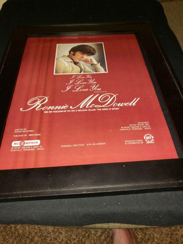 Ronnie McDowell I Love You Rare Original Promo Poster Ad Framed!