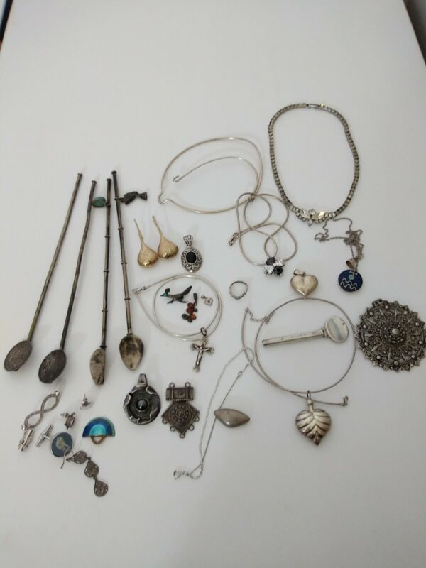 VINTAGE STERLIN SILVER WEAR USE HARVEST JEWELRY MIXED LOT 262 GRAMS