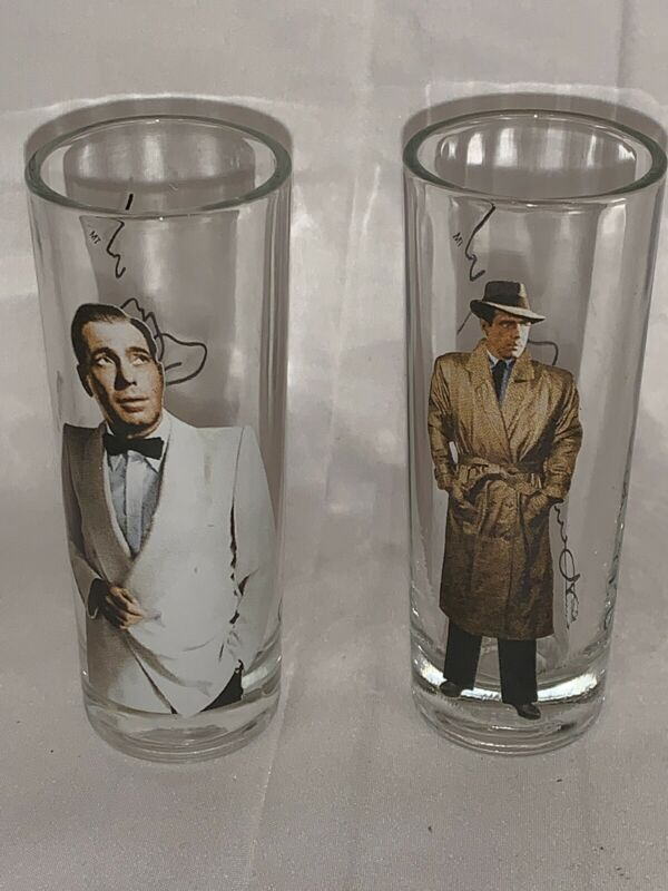 SET of 2  HUMPHREY BOGART SHOT GLASS GLASSES