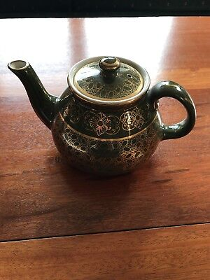 (Rare! Vintage Hall Teapot with Lid RT 36 Green With Gold Trim)