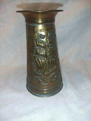 Brass / Copper Poker Stand or Vase Embossed Ship Designs In Great Condition
