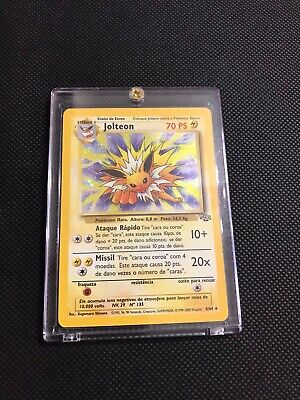 Rare 1999 Portuguese Pokemon Jungle Jolteon Holo #4 N/M Condition. See Photos