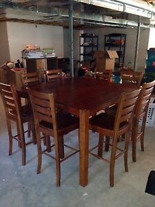 Cherry wood pub-style dining table for 8