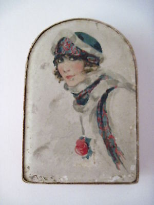Vintage 1920's-30's Box w/ Woman Wearing a Fashionable Hat & Scarf That Match *