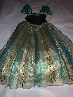 Size 7-8 Disney Store Frozen Deluxe Coronation Princess Anna Green Costume - Anna Green Dress Kostüm