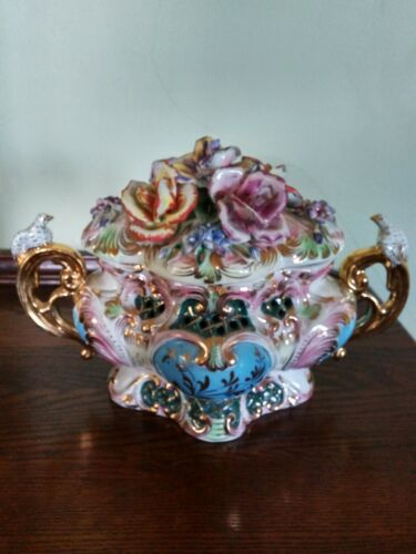 Vintage - Azzolin Brothers Ornate Centerpiece Covered Tureen Italy