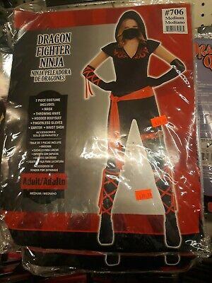 Dragon Fighter Ninja Halloween Costume for Women, Medium, with Accessories